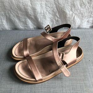 Jil Sander flat satin pink sandals size 40